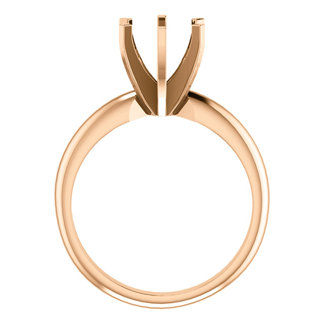 14K Rose 7.3-7.7mm Round 6-Prong Solitaire Ring Mounting