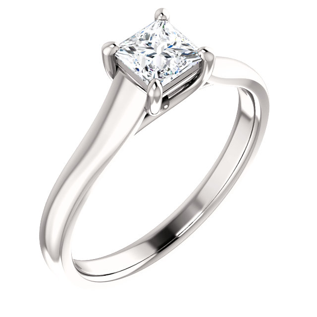 14K White 1/2 CTW Diamond Princess Woven Engagement Ring