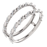 Diamond Pave Twist Rope Ring Guard or Mounting