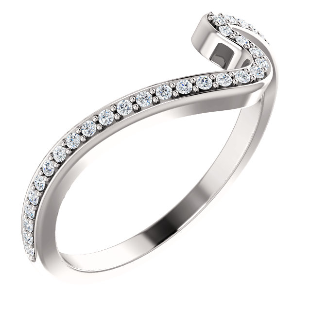 14K White 1/6 CTW Diamond Band for 4.4mm Round & 5.2mm Round Engagement Ring