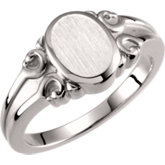 Open Back Oval Scroll Design Signet Ring