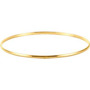 14kt Yellow  mm Half<br> Round Bangle Bracelet