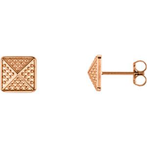 Granulated Pyramid Earrings 8mm