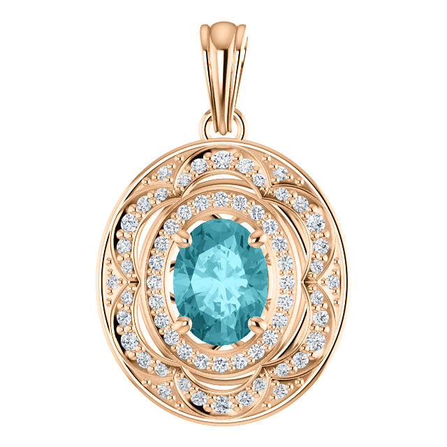 14kt Rose 8x6mm Oval Pendant Mounting for Gemstone