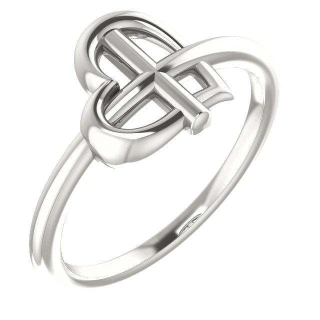 Sterling Silver Heart Cross Ring