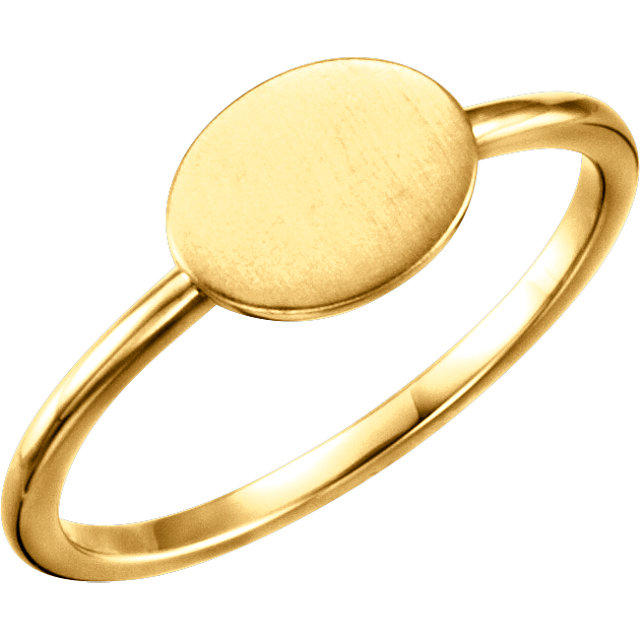 14K Yellow Oval Engravable Ring