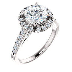 Halo-Style French-Set Engagement Ring