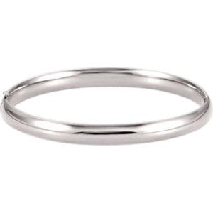 14kt White 6.5mm Hinged Bangle Bracelet