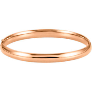 14kt Rose 6.5mm Hinged<br> Bangle Bracelet