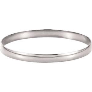 14kt White 6mm Half Round Bangle Bracelet