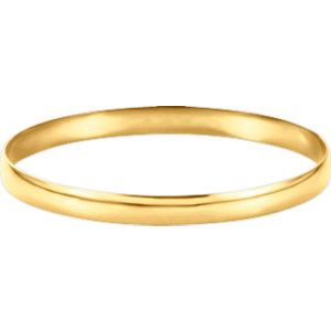 14kt Yellow 6mm Half<br> Round Bangle Bracelet