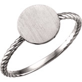Be Posh®  Round Engravable Rope Design Ring