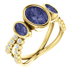 Three-Stone Bezel Set Ring