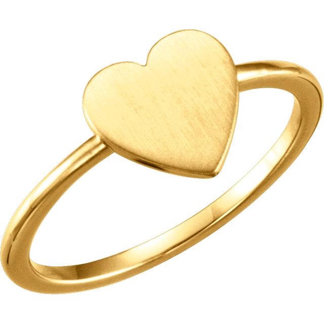 14K Yellow Heart Engravable Ring