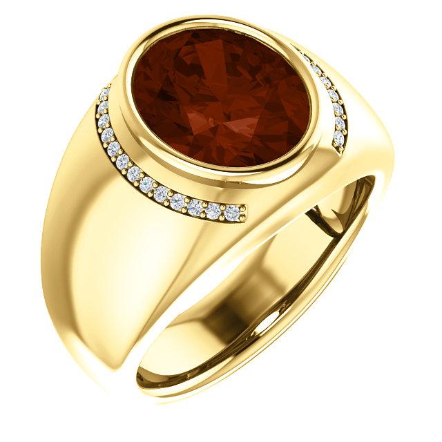 14K Yellow Mozambique Garnet & 1/8 CTW Diamond Ring