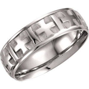 Comfort-Fit 7mm Cross Pattern Band