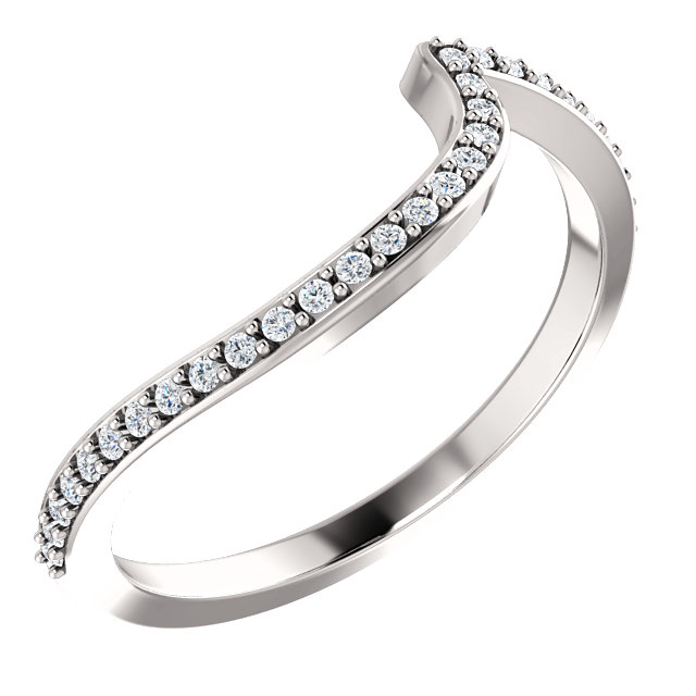 14K White 1/8 CTW Diamond Band for 4.4mm Round Ring