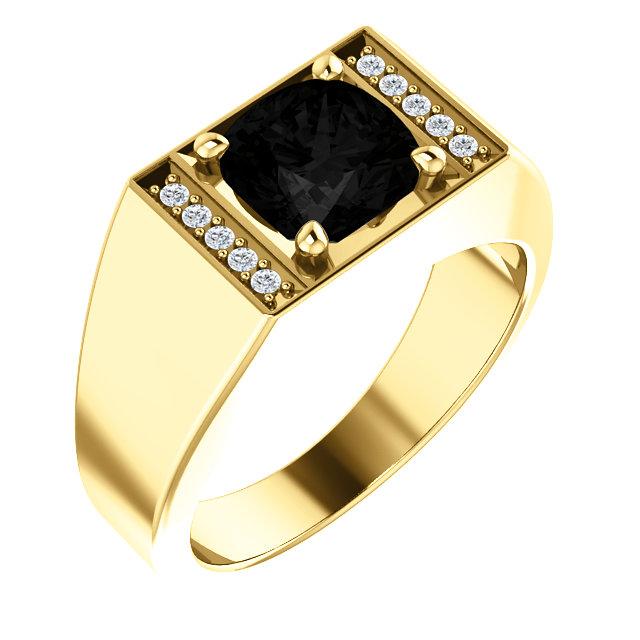 14kt Yellow Men's Onyx & 1/10 CTW Diamond Ring