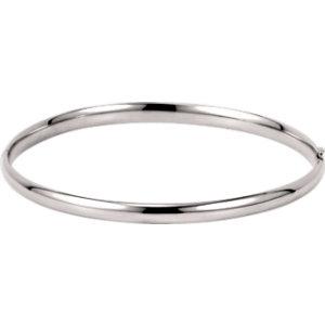 14kt White 4mm Hinged Bangle Bracelet