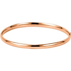 14kt Rose 4mm Hinged Bangle Bracelet