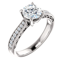 Accented Filigree Engagement Ring