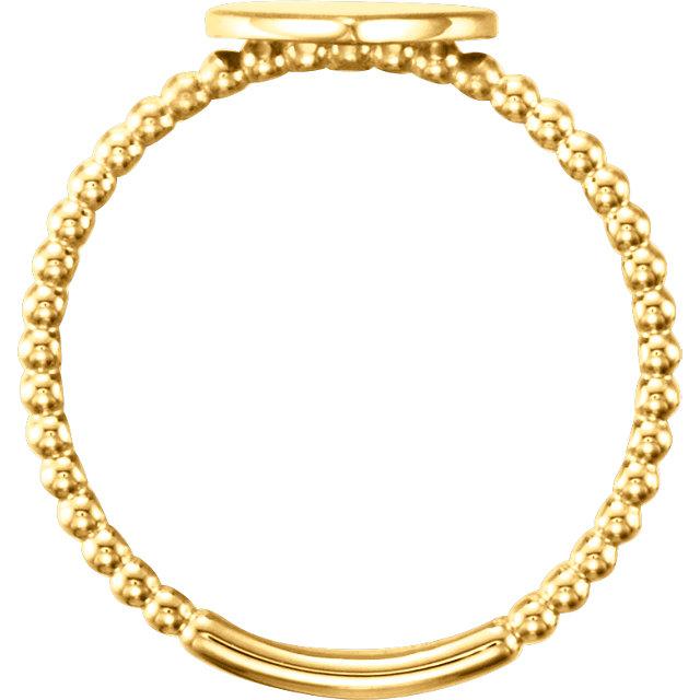 14K Yellow Heart Engravable Beaded Ring