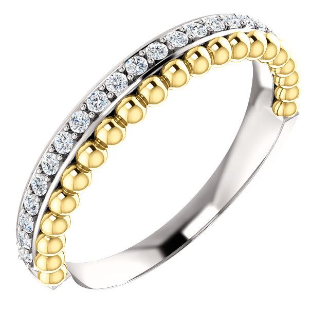 14kt White & Yellow 1/4 CTW Diamond Beaded Ring