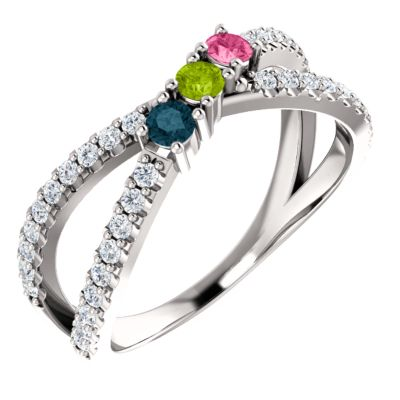 Accented Criss-Cross Family Ring