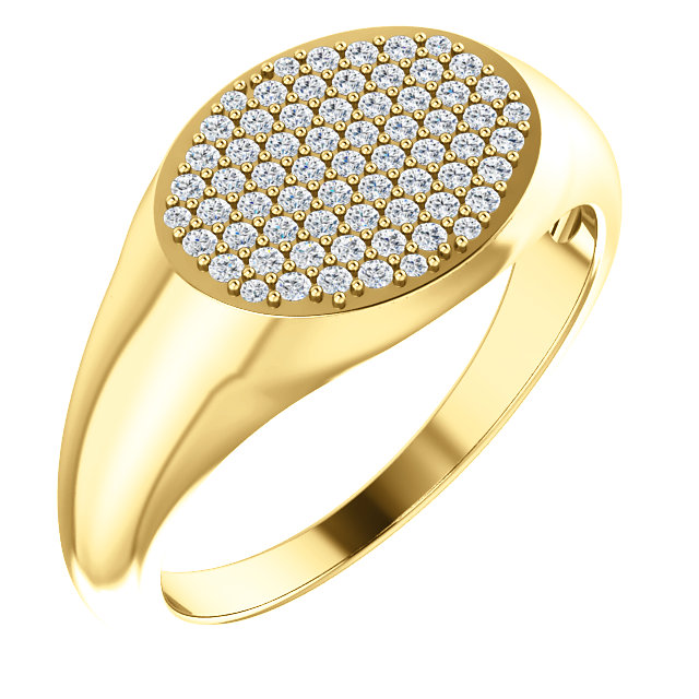 14kt Yellow 1/3 CTW Diamond Pavé Signet Ring