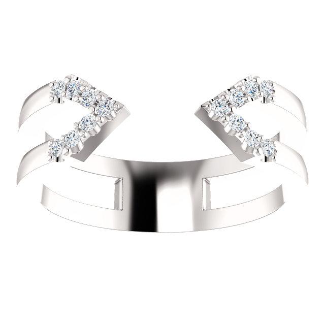 14kt White 1/8 CTW Diamond Geometric Ring