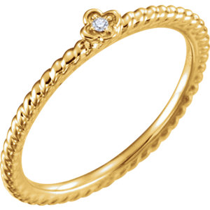 14K Yellow .01 CT Diamond Stackable Ring