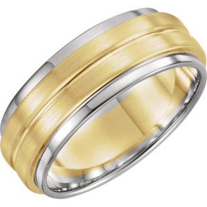 Platinum & 18K Yellow & Platinum 7 mm Grooved Band with Bead Blast Finish Size 10.5