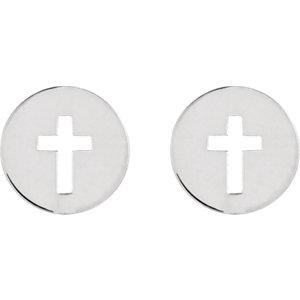 14K White Pierced Cross Earrings