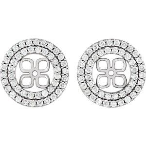 Earrings , 14K White 9/10 CTW Diamond Earring Jackets for 8mm Pearl