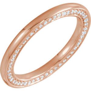 14K Rose 2 mm 1/2 CTW Diamond Accented Band Size 7