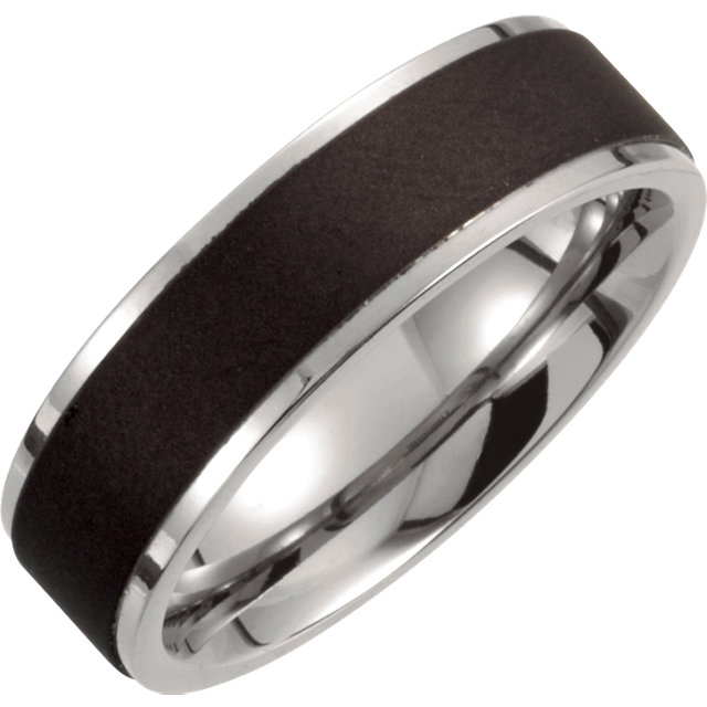 Titanium 7 mm Ridged Oxidized and Polished Band Size 7.5