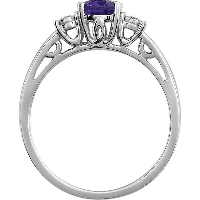 14K White Amethyst & .04 CTW Diamond Ring