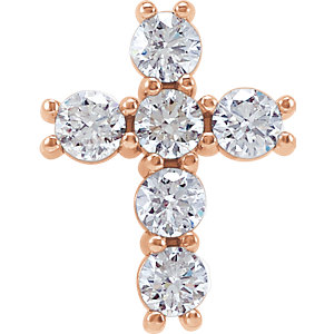 14K Rose 1/3 CTW Diamond Cross Pendant