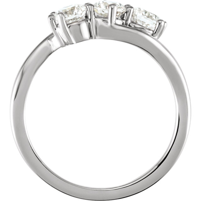 14K White 1 CTW Diamond Three-Stone Ring