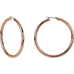14K Rose Gold-Plated Stainless Steel 5x30mm Hoop Earrings