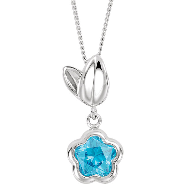 BFlower™ Blue CZ Flower Necklace with Gift Box