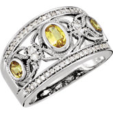 Yellow Sapphire & Diamond Accented Butterfly Design Ring