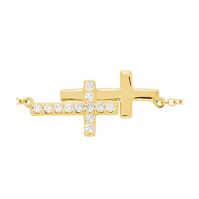 14K Yellow 1/5 CTW Diamond Double Sideways Cross 8