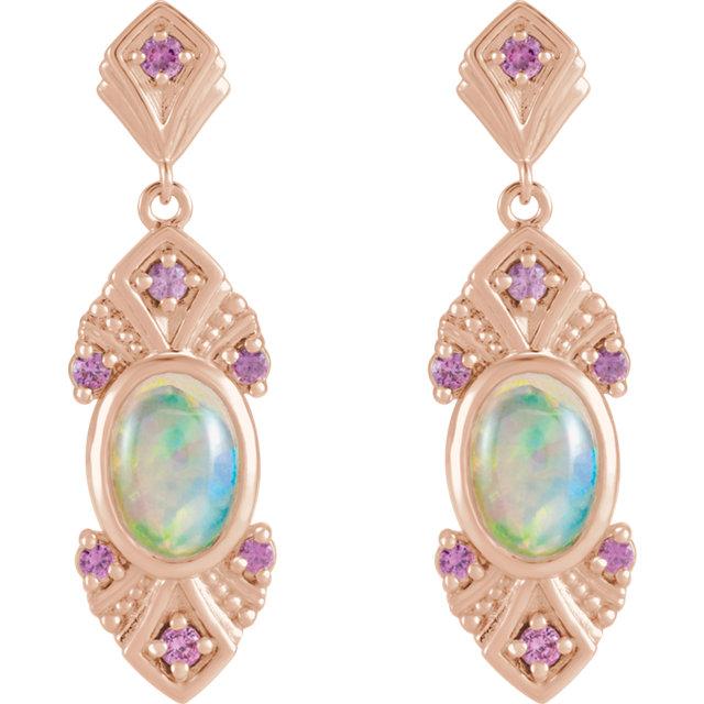 14K Rose Ethiopian Opal & Pink Sapphire Vintage-Inspired Earrings