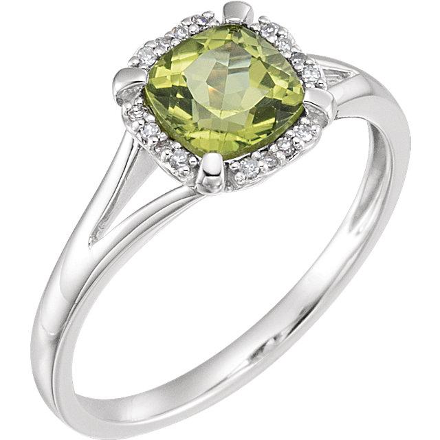14K White Peridot & .05 CTW Diamond Ring