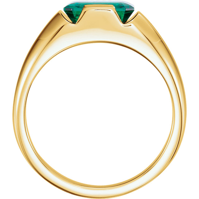 14K Yellow Chatham Created Emerald Men-s Ring