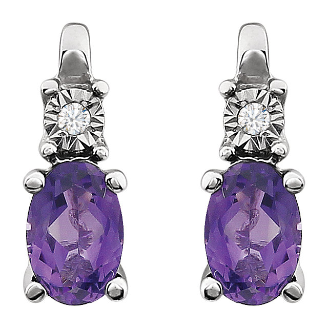 14K White Amethyst & .02 CTW Diamond Accented Earrings