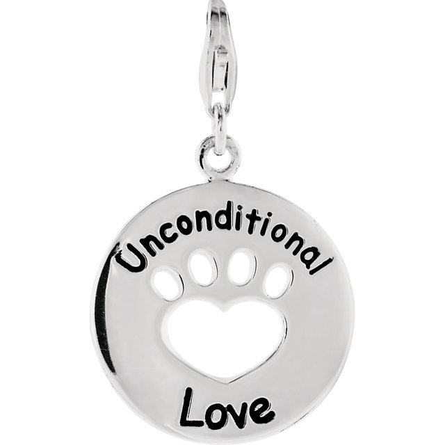 Sterling Silver Heart U Back™ Unconditional Love Paw Charm