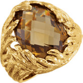 Be Posh® Checkerboard Honey Quartz Leaf Ring
