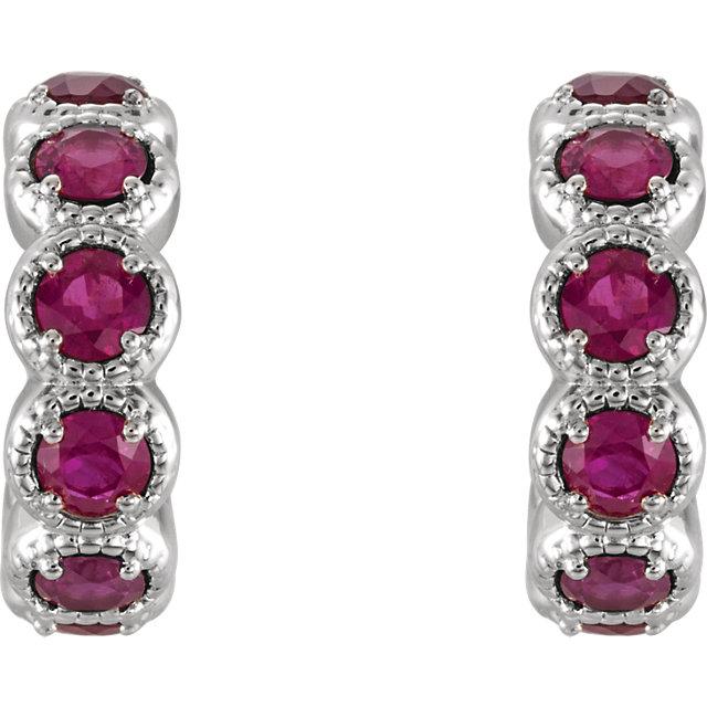 14K White Chatham® Created Emerald Hoop Earrings